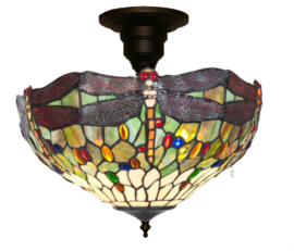 5850 SF01 Plafonniere Tiffany Ø40cm 3xE27 Dragonfly Multicolor