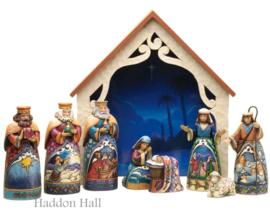 """Away in a Manger"" H28cm 9-delig Jim Shore 4034382 Kerststal Kerstgroep"