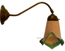 408-OV 410 Wandlamp donkebrons met Tiffany kap Ø13cm Galle Stijl Verde
