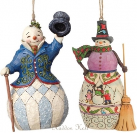 "Set van 2 Hanging Ornament ""Victorian Snowman""& ""Winter scene Snowman"""