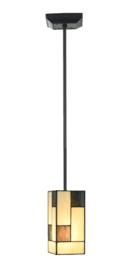 8131 Hanglamp Zwart met Tiffany kap B12cm Mondriaan