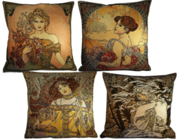 "Alphonse Mucha Set van 4 Kussens 48x48cm ""Lente, Zomer,Herfst & Winter"" Gobelin geweven"