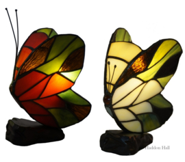 LT1204R&B Set van 2 Tiffany lamp H17cm Red & Groen-Beige Butterfly