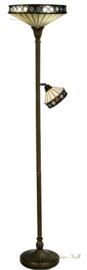 T4P40 5197 Vloerlamp H176cm met 2 Tiffany kappen Ø40cm Ø19cm Fargo