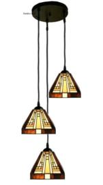 7904 Hanglamp met 3 Tiffany kappen 18x18cm Rising Sun