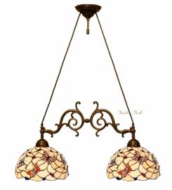 770 Hanglamp B75cm  met 2 Tiffany kappen Ø30cm Pink Butterfly