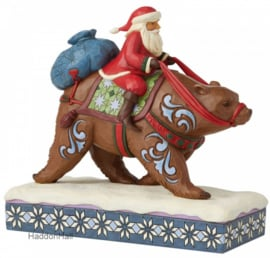 Annual Santa Riding Brown Bear - Jim Shore 6008875