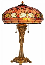 5273 Tafellamp Tiffany H55cm Ø40cm Red Glass  Dragonfly
