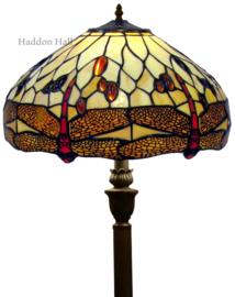 1101 V466 Vloerlamp H156cm met Tiffany kap Ø40cm Beige Dragonfly