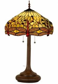 1102 5375 Tafellamp Tiffany H84cm Ø48cm Beige Dragonfly