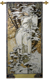"Alphonse Mucha ""WInter"" Wandkleed + Stang 110x46cm Gobelin Geweven"