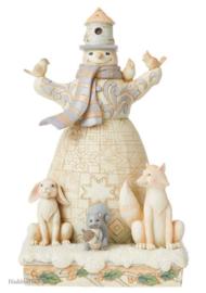 White Woodland Snowman with Birdhouse Hat H23cm Jim Shore 6008862
