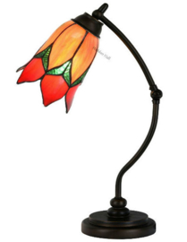 8099 Bureaulamp H50cm met Tiffany kap Ø15cm Lovely Flower Orange