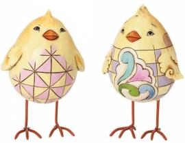"""Egg-Shaped Chicks"" Set van 2 Kuikens H10cm Jim Shore 4037677"