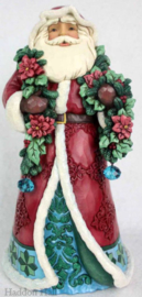 """Wonderland Santa with Garland & Poinsetta""H26cm Jim Shore 6001420"