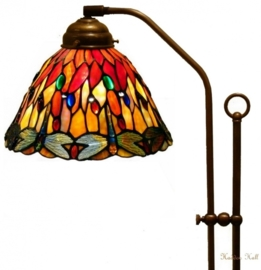 7808  3090 708H Vloerlamp Haaks met Tiffany kap Ø25cm Red Glass Dragonfly