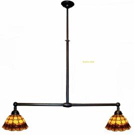 8828 Hanglamp B90cm met 2 Tiffany kappen Ø26cm Victoria