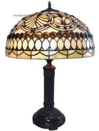 6068 Tafellamp Tiffany H62cm Ø46cm  Perlebeige