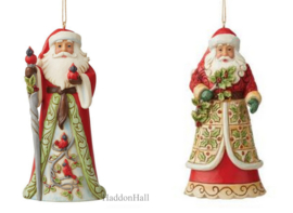 Santa Cardinal & Santa Holly - Set van 2 Jim Shore Hanging ornaments