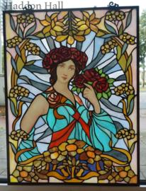 5690 Voorzetraam Tiffany 47x61cm Mucha ontwerp