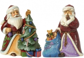"Set van 2 Kerstmannen  ""Trimmed in Tradition"" & ""Silent Night Delivery"" H17cm Jim Shore"