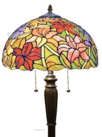 TT37 Vloerlamp Zwart H160cm met Tiffany kap Ø41cm Lilly Multicolor