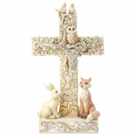 White Woodland Cross Figurine H18,5cm Jim Shore 6006236