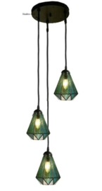 8114 Hanglamp met 3 Tiffany kappen Ø16cm Arata Green