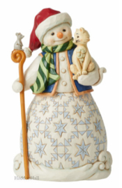 Snowman Holding Cat H21,5cm Jim Shore 6008097