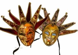 """545.546 Venetiaanse Maskers """"Clown"""" Oranje & Goud Set van 2"""