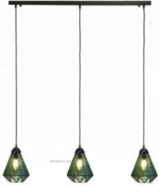 8114 Balk B100cm met 3 Tiffany kappen Ø16cm Arata Green