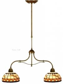 5810 700 Hanglamp B75cm met 2 Tiffany kappen Ø25 Tabacco