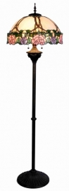 5612 Vloerlamp Staandelamp H164cm met Tiffany kap Ø50cm * Bolling in de voet*  Grijze metaal