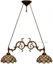 "5797 Hanglamp met 2 Tiffany kappen Ø25cm ""Pearl"""