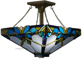 141352  Hanglamp Plafonniere Tiffany 36x36cm Blue Drop