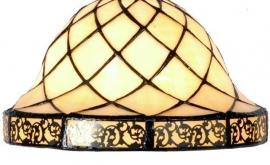 1136 Hanglamp Messing B78cm met 2 Tiffany kappen Ø26cm Filigrees