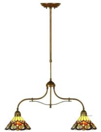COT08 Hanglamp B75cm met 2 Tiffany kappen Ø26cm Sydan.