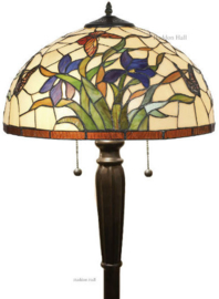 Y16392 Vloerlamp Zwart H160cm met Tiffany kap Ø40cm Papillons