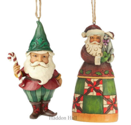 Set van 2 Hanging ornament Wonderland Gnome - Santa with Cat - Jim Shore