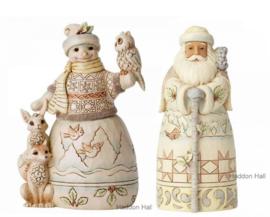 White Woodland Set van 2  beelden Snowman & Santa H15cm Jim Shore