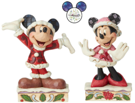 Mickey & Minnie Christmas H12cm Set van 2 Jim Shore figurines