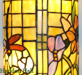8825 Wandlamp Tiffany H35cm B17cm Cilinder model  Garden Dragonfly