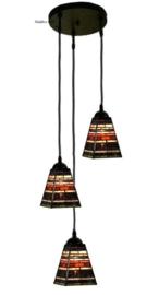 8117 Hanglamp met 3 Tiffany kappen 13x13 Industrial