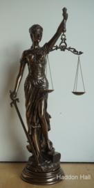 Vrouwe Justitia H78cm Bronskleur