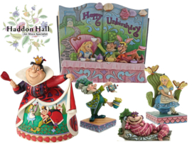 Alice, Mad Hatter, Cheshire Cat , Queen of Hearts & Storybook -Set van 5 Jim Shore beelden