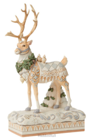 White Woodland Reeindeer Centerpiece H37cm Jim Shore 6008870