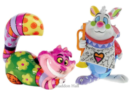 Cheshire Cat & White Rabbit H7cm Set van 2 Mini-figurines by Britto