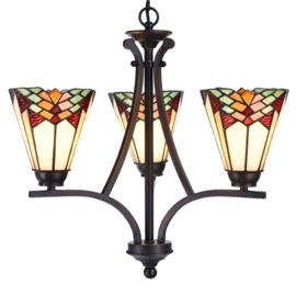 5967 Hanglamp Ø50cm met 3 Tiffany kappen Ø15cm Stricta