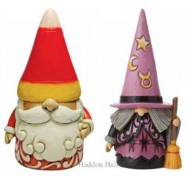 Candy Corn & Witch Gnome H15cm - Set van 2 Jim Shore beelden