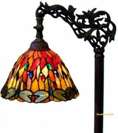 7808  3090 9458 Vloerlamp H164cm met Tiffany kapje Ø25cm Red Glass Dragonfly